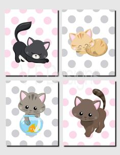 Baby Girl Nursery, Cat Nursery Art, Kitten Nursery Decor, Pink, Polka Dot, Chevron, Toddler Girls, Kids Wall Art, Set of 4, Prints or Canvas by vtdesigns on Etsy https://www.etsy.com/listing/474876427/baby-girl-nursery-cat-nursery-art-kitten