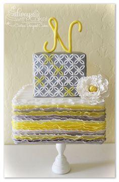 Gray and yellow cake