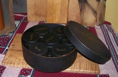 Primitive Old style wood Shaker Spice box with 7 containters Painted Dark Blue #NaivePrimitive