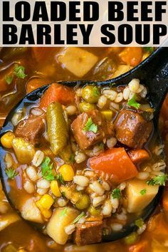 BEEF BARLEY SOUP RECIPE- Quick, easy, healthy, classic, old fashioned, hearty, best homemade soup, made on stovetop with simple ingredients in one pot. A weeknight meal loaded with Italian seasoning, tomatoes, vegetables, tender beef. Can be made in crockpot/ slow cooker and instant pot with mushroom and hamburger ground beef too. From OnePotRecipes.com #soup #vegetables #beef #barley #healthy #onepotrecipes #onepotmeal #dinner #recipes Old Fashioned Vegetable Soup Recipe, Homemade Vegetable Beef Soup, Vegetable Soup Recipes, Homemade Soup, Weeknight Meals, Quick Meals, Beef Barley Soup, Italian Seasoning, One Pot Meals