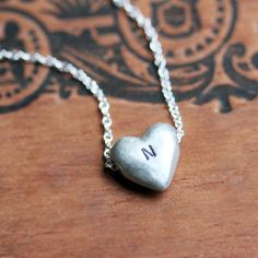 Personalized silver heart necklace Initial by metalicious on Etsy VDAY PLEASE? Or diamonds lolol