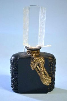 Deco scent bottle with diamante, black and clear glass