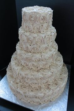 our wedding cake #buttercream #roses #nofondant