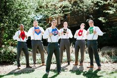Superhero groom and groomsmen undershirts //  Photographer: The Brand Studio // http://www.theknot.com/submit-your-wedding/photo/10715f8b-b871-49a9-8be2-464959eee1af/Dana-and-Mathew