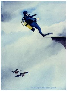 "OLYMPIC GAMES 2012, Aug 11th : Diving Men's 10m platform  pic: ""COLYMBUS""  - Ducks colymbus - watercolors by Pascal Lecocq, The Painter of Blue ®,  8""x12"" 20,5 x 31 cm  priv.coll. France, 1997, lec472c, © www.pascal-lecocq.com."