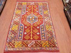"Vintage Turkish Rug 4'1"" x 6'1"" Vegetable dyed Rug Handmade Rug Floor Rug Turkish West Anatolian Local Rug Ottoman Rug Boho Rug Navajo Rug"
