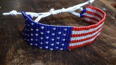 Loom beaded bracelet American flag / Beaded by Suusjabeads on Etsy Loom Bracelets, Loom Beading, American Flag, Seed Beads, Red And White, Jewlery, Stripes, Etsy, How To Make