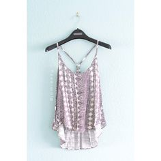 Black and white printed tank with scoop neck and deep Y-back by Ecote from Urban Outfitters. Loose and flowy. Semi hi-lo h...