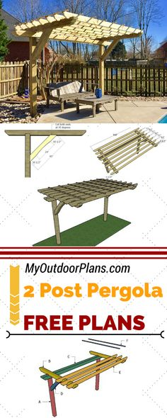 Learn how to build a cool 2 post pergola for your backyard or patio. Follow my step by step instructions and plans for a 2 post pergola to save money and add value to your home at MyOutdoorPlans.com #diy #pergola #pergoladiy