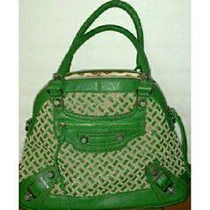 Nicole Lee Statement Bag Green/Vanilla. Weave Pattern/Silver Hardware and embellishments/double handles/ approx.15x10x6.Barely used Condition ??????No Shoulder Strap!!?? Nicole Lee Bags