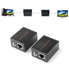 60M VGA Signal to RJ45 Signal Extender Transmitter Receiver Set Ethernet Cable #Unbranded