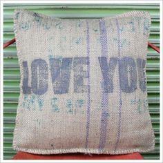 Love You Hessian Cushion Mulbury