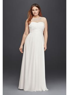Plus Size Wedding Dress with Beaded Illusion Neck 9SDWG0437