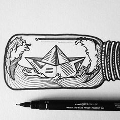 「ship in the bottle drawing」的圖片搜尋結果 Tattoo Drawings, Art Drawings, Drawing Art, Tattoo Samurai, Bottle Drawing, Bottle Tattoo, Pen Art, Doodle Art, Art Inspo