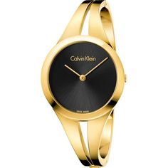 CALVIN KLEIN K7W2S511 Addict gold-plated stainless steel watch ($360) ❤ liked on Polyvore featuring jewelry, watches, black face watches, calvin klein jewellery, gold stainless steel jewelry, calvin klein jewelry and calvin klein