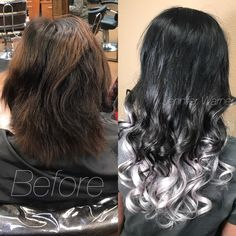 Long Ombré hair using Babe Extension to get the black to silver ombré look. by Jennifer Warner Black To Silver Ombre, Silver Hair, Jennifer Warner, Long Ombre Hair, Bayalage, Hair Color And Cut, Hair Type, Las Vegas, Salons