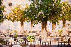 """Formal Wedding Inspired by Central Park & Springtime in New York """"The proposal wasn't planned – it just happened,"""" says Guillermo Drew-Bear. While visiting his sweetheart Ashley Fina's parents one Sunday, he took them aside and ment. Tree Centrepiece Wedding, Wedding Reception Table Decorations, Tree Centerpieces, Reception Design, Centerpiece Ideas, Reception Ideas, Wedding Table, Wedding Ceremony, Wedding Venues"""