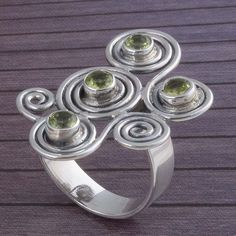 NEW 925 STERLING SILVER PERIDOT CUT RING 7.75g DJR3395 #Handmade #Ring