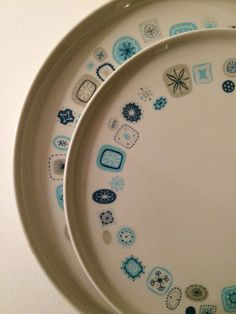 Set of 6 Franciscan Del Mar Dinner & Side Plates Atomic Mid Century Retro Eames