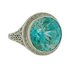 Early Retro 14kt White Gold & Natural Blue Zircon Ring c.1930