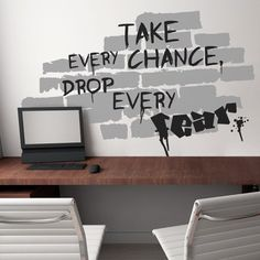 This cool graffiti vinyl wall sticker will bring the free and revolutionary spirit to your teenager room or work area. This giant The Wall wall sticker features a brick wall with a graffiti saying: Take Every Chance, Drop Every Fear.$74.95