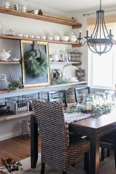 Our Christmas Home Tour - The Wood Grain Cottage Love the shelves:) And the ginham ribbon on pine wreath