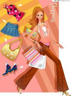 Korea style fashion shopping girl vector