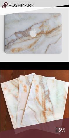 """MacBook Air 13"""" Vinyl Skin - Vanilla Marble Vanilla Marble - MacBook Air 13"""" Vinyl Skin. All three pieces for perfectly on to the MacBook. Perfect holiday gift. Order today! Can be bundled!! xccessori-usa Accessories Laptop Cases"""