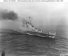 USS Savannah, on fire and down in the after hit by German radio-controlled bomb, known as a Fritz-X Naval History, Military History, Royal Navy, Us Navy, Radios, Gun Turret, Navy Chief, United States Navy, Battleship