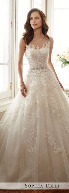 Illusion batteau neckline, lace appliqués, and tulle ~ by Sophia Tolli: Y11719 Monte