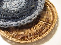Pet Bed, Cat or Dog, Jean crochet bed with basket, pet mats, pet pads, animal, recycled jeans, one of a kind by TheRecycledGreenRose on Etsy