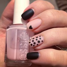 Pink & black matte nails