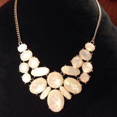 """Statement Necklace Brand New W/O Tags Gold Tone With Glitter Stone Ovals Statement Necklace, Drop 2 1/4""""L, Chain 18""""L With A Lobster Clasp Closure. (NWOT) Jewelry Necklaces"""