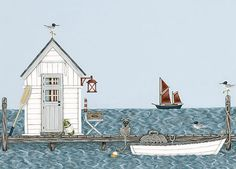 Sally Swannell boat and hut Seaside Beach, Beach Art, Seaside Art, Fish Hut, Image Deco, Beach Illustration, Naive Art, Deco Table, Pics Art