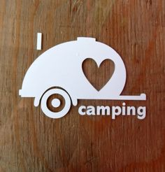 I love camping  teardrop car window decal.  Travel trailer. Teardrop trailer.  Camping gear.  Campground.  Vintage travel trailer.  Sticker