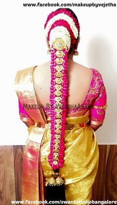 Traditional Southern Indian bride's bridal braid hair. Hairstyle by Vejetha for Swank Studio. #SilkSaree #Blouse #Design #HairAccessory #Jhumkis #SilkSari Braid with fresh flowers. Tamil bride. Telugu bride. Kannada bride. Hindu bride. Malayalee bride. Find us at https://www.facebook.com/SwankStudioBangalore