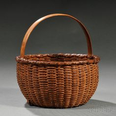 Small Woven Splint Basket, America, 19th century, round basket with finely peaked domed center, hardwood upright fixed handle, (minor loss), ht. 7 5/8, dia. 7 1/2 in.