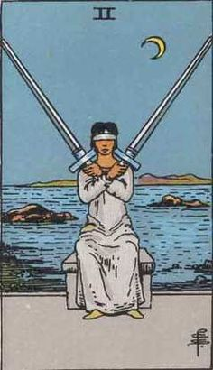 2 Of Swords:Work: You may be stuck waiting on a decision that has to be made by other people. Try to be patient and refrain from pushing people to move before they are ready. If you have done your homework, things are likely to work out in your favor. Make sure you have done what you are supposed to do work wise, and if you haven't, figure out how to explain and/or make amends, as you are likely to be called to account. Don't panic.Source: psychic-revelation card meaning/Rider-Waite Tarot…