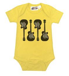 4 Guitars Yellow One Piece - My Baby Rocks www.punkbabyclothes.net www.mybabyrocks.com #mybabyrocks #punkbabyclothes #baby