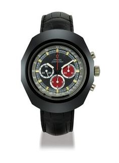 OMEGA, SEAMASTER, DARTH VADER STAINLESS STEEL AND CERAMIC MANUALLY-WOUND CHRONOGRAPH WRISTWATCH, CIRCA 1971