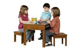 Kids Table and Chair Set Wooden Desk Toddlers Activities Child Room Wood Tables