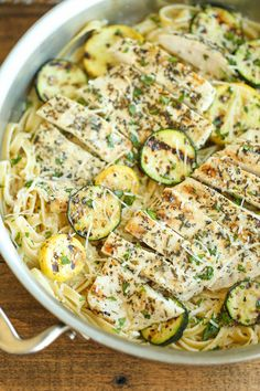 Garlic Butter Fettuccine with Chicken and Zucchini - So buttery, so garlicky, an. Garlic Butter Fettuccine with Chicken and Zucchini - So buttery, so garlicky, and just so creamy! Made with lemon-herb chicken and crisp-ten. Fettuccine Recipes, Pasta Recipes, Chicken Recipes, Dinner Recipes, Cooking Recipes, Healthy Recipes With Chicken, Meat Recipes, Healthy Meals, Healthy Food