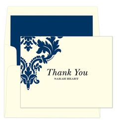 Damask Scroll Thank You Note Cards