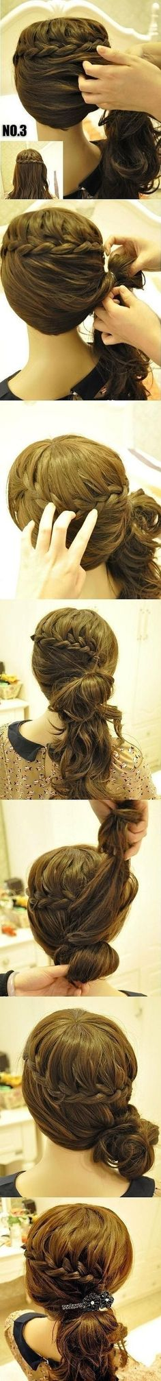 waterfall braid and low bun