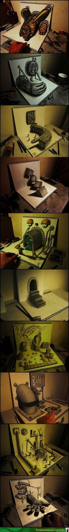 Desenhos em 3D realizados em dois cadernos.  INCRÍVEL