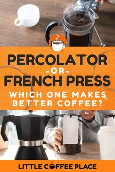 Move over, fancy new coffee pots! Old fashioned coffee brewers are back in style. But which one should you pick? We'll share the difference between two of the most popular oldies but goodies - the French press and the percolator - in this article. #littlecoffeeplace #frenchpress #percolator #coffeepot Coffee Thermos, Little's Coffee, Best Coffee, Coffee Drink Recipes, Coffee Drinks, Coffee Brewers, Coffee Container, Coffee Facts, Coffee Accessories