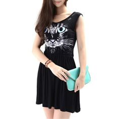 Abody Tank Dress Animal Cat Print Elastic Waist Sleeveless Casual Mini Dress Black Abody http://www.amazon.com/dp/B00K4TM4V0/ref=cm_sw_r_pi_dp_ELq5ub0VHJH43