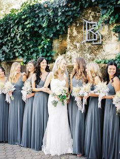 Gorgeous gray bridesmaid dresses: http://www.stylemepretty.com/little-black-book-blog/2016/01/27/romantic-fall-wedding-among-the-redwoods/ | Photography: Jen Rodriguez - http://www.jen-rodriguez.com/