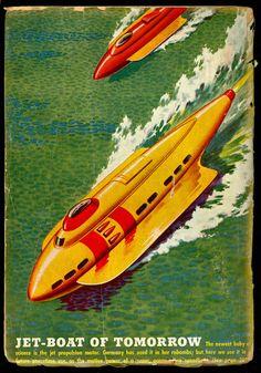 Retro-Futuristic, Sci-Fi, Watercraft,  Futuristic Vehicle, Science Fiction, Jet Boat of Tomorrow