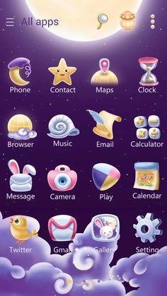 Moonie GO Launcher Theme- screenshot Theme Launcher, Launcher Icon, Themes App, Phone Themes, Web Design Icon, App Design, Cute Themes, App Logo, Phone Icon